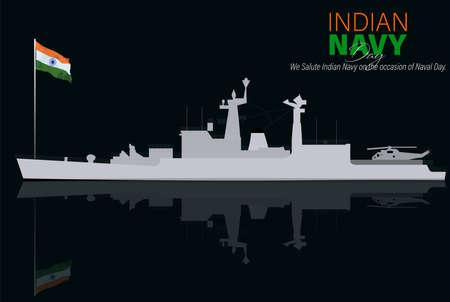 Vector Illustration of Indian Navy Day. December 4. Soldier Saluting Flag. Ilustracje wektorowe