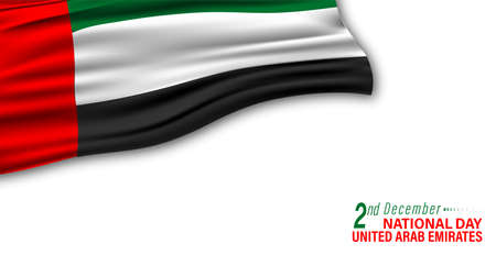 Vector Illustration of UAE National day december 2. Waving flag. abstract