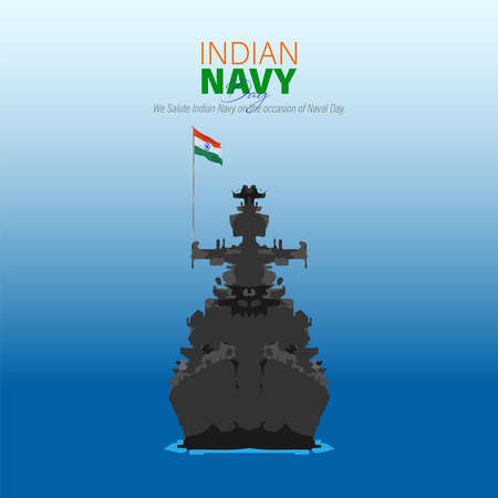 Vector Illustration of Indian Navy Day. December 4. We salute Indian Navy on the occasion of naval day.