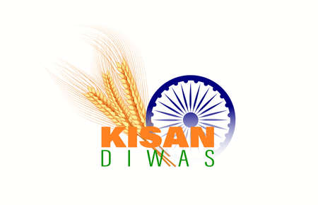 Vector illustration for Indian day kisan diwas means farmer days. Abstract Village concept.