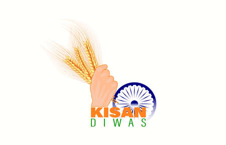 Vector illustration for Indian day kisan diwas means farmer days. Abstract Village concept. Vettoriali