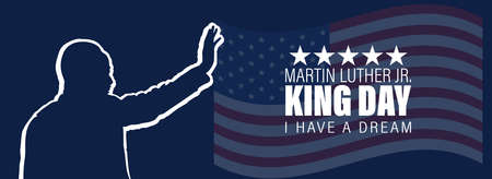 Martin Luther King Jr Day greeting card. I have a dream inspirational quote with US flag color Poster Or Banner Background.