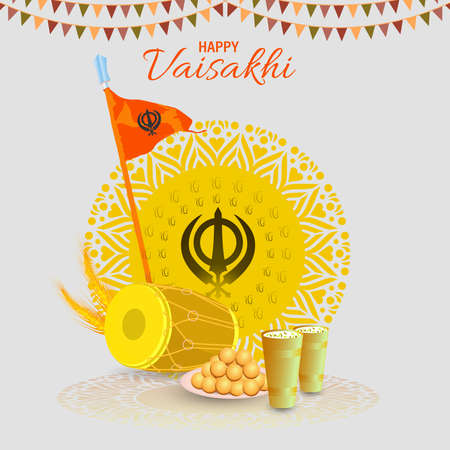 Vector Illustration Of Happy Baisakhi Celebration. Vaisakhi, also known as Baisakhi festival in Hinduism and Sikhism. Couple dancing.