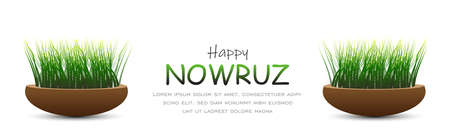 Happy Persian New Year (Nowruz) vector illustration. greeting card, poster and banner. Green wheat grass semeni.