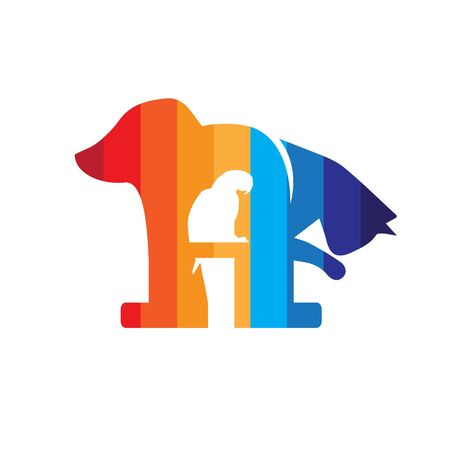 letter A logo. letter based Pet icon. has a parrot bird in negative space