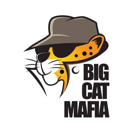 Großkatzen-Mafia-Cartoon. kann für T-Shirt-Druck, Logo, Buchcover, Poster oder andere Zwecke verwendet werden.