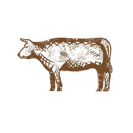 Cattle clip art. vintage style vector.
