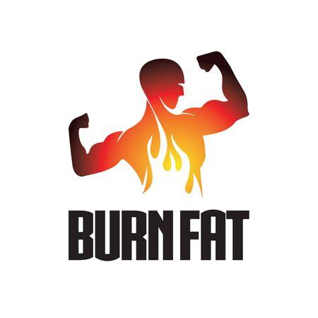 burn fat fitness logo design