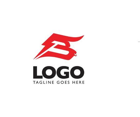 B logo, letter based Bull head icon