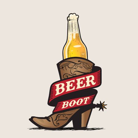 Beer and Boot vector illustrationfor poster, logo, tshirt print, or any other purpose.beer and boot are separated layers Иллюстрация