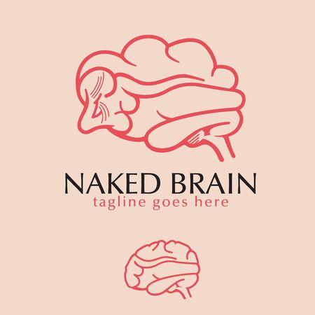 Naked Sexy Brain logo. vector Illustration