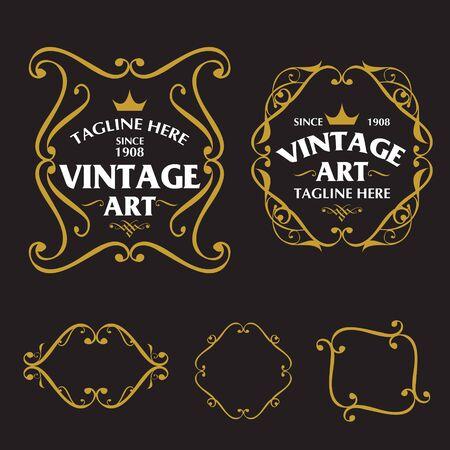 El marco Art Nouveau establece el vector, todo en capas separadas para facilitar la edición. Ilustración de vector