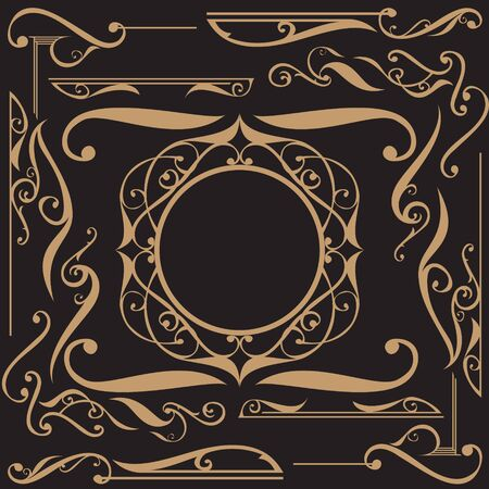 Art Nouveau ornament set.a set of luxury Art Nouveau ornaments 일러스트