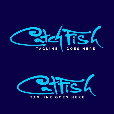 Catch fish or Cat fish wordmark logo set. vector 写真素材 - 129793800