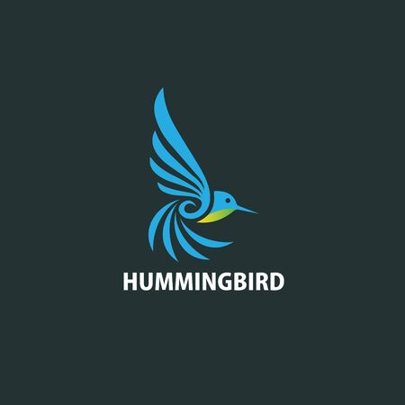 Humming bird logo design flat simple and modern Stok Fotoğraf - 129793893