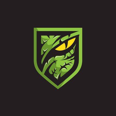 Logo dell'occhio del predatore o del rapace. illustrazione vettoriale.