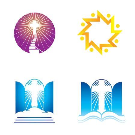 Iconos de iglesia, religión y fe Ilustración de vector