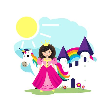 Princess, Unicorn and WHite Castleflat cartoon vector illustration