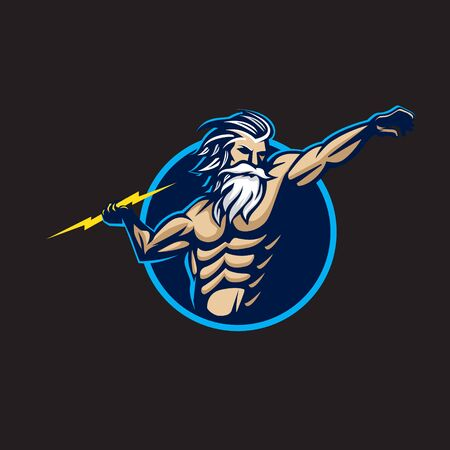 Zeus logo. modern illustration. can be used for tshirt printing, sport or esport club logo, or any other purpose Ilustração
