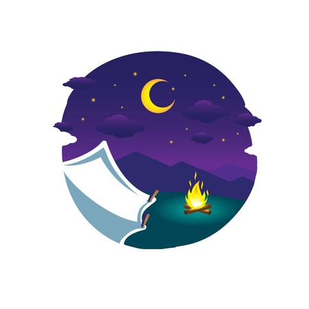 Camping at Night flat vector illustration