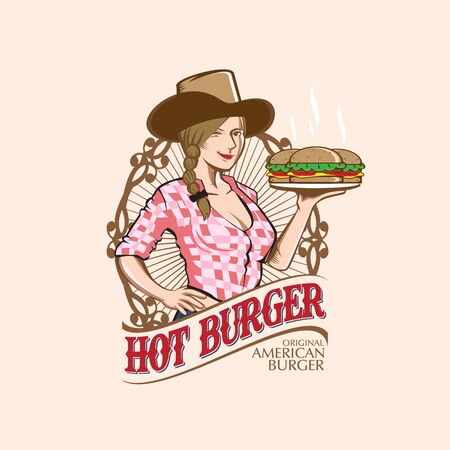 Cowgirl with Burger, food logo theme.vector Illustration