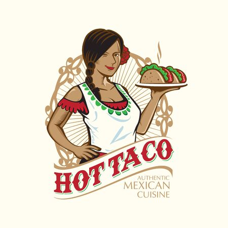 Lady Taco logo, Mexican Cusine theme. the dress is ion separated layers for easy editing