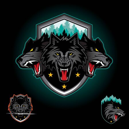 Wolf pack emblem logo badge. vector illustration Иллюстрация