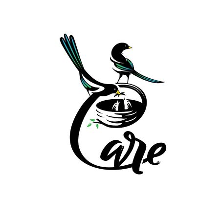 Caring birds logo. C letter based, vector