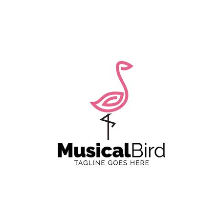 Musical Bird logo. Musical Note in Bird shape Stock Illustratie