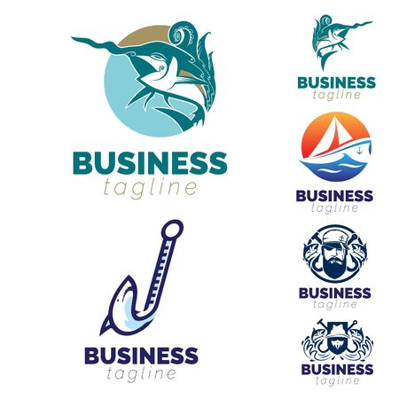 Fishing, Fish and Sail theme logo set. vector Иллюстрация