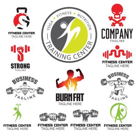 Fitness Gym and Yoga theme. logo set Ilustração