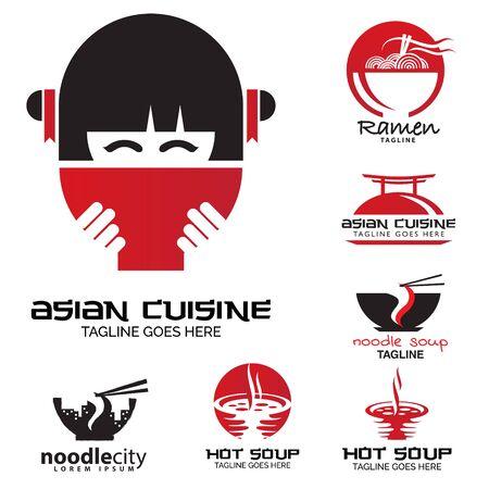 Asian cuisine logo set vector