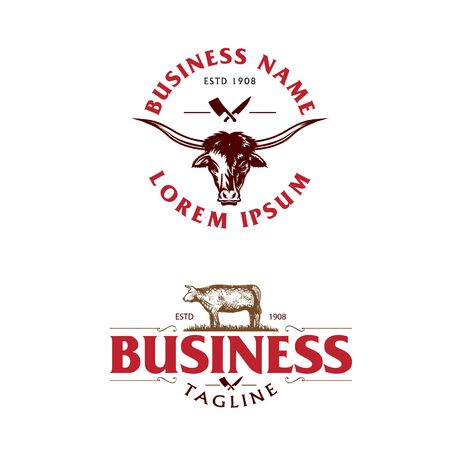Meat shop logo. beef theme set.