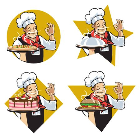 Chef star logo. vector illustration. set