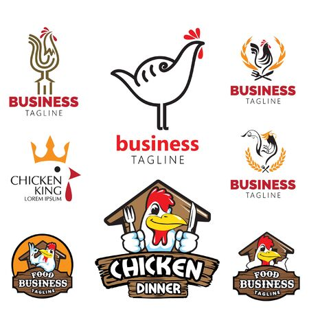 Logotipo de tema de pollo establece negocio de alimentos