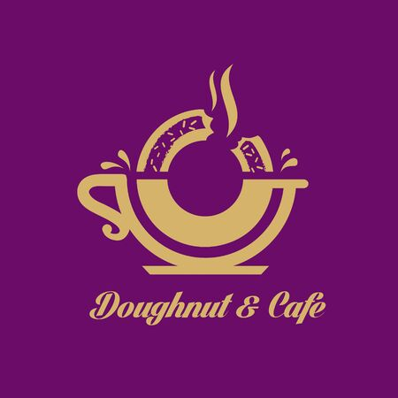 Donut Cafe Donut and Cafe logo for food or cafe business and any other possible purpose. Ilustração
