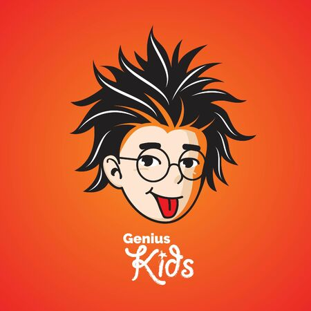 Smart or Genius kid, looks like a famous professor. the glasses is on separated layer that can be removed safely.