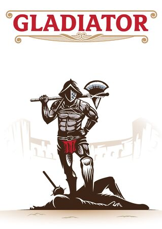 Gladiator. vector illustration for book cover, history theme, tshirt, poster, or any other purpose. all layers are separated. Illusztráció