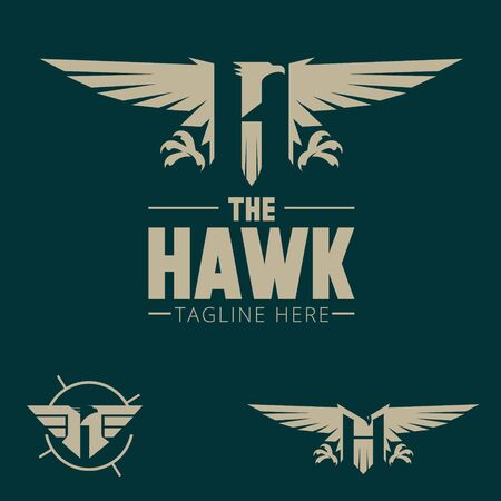 H logo. letter based Hawk bird theme vector