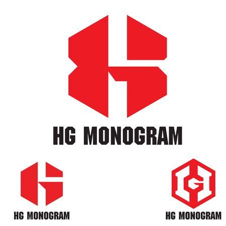 HG monogram logo set. vector