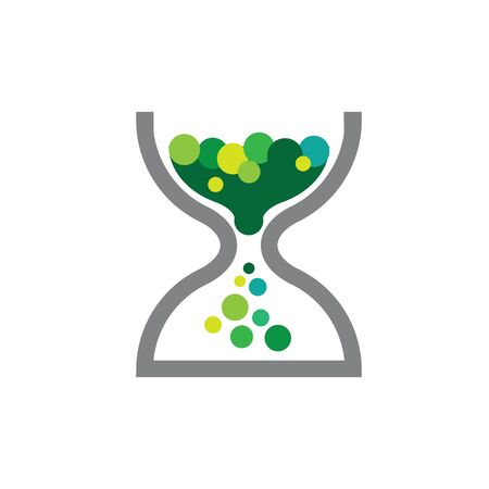 hourglass and bubbles or coins. can be interpreted as savings icon design Ilustracja