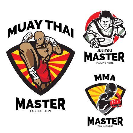 Martial art master logo. emblem or badge clip art Ilustração