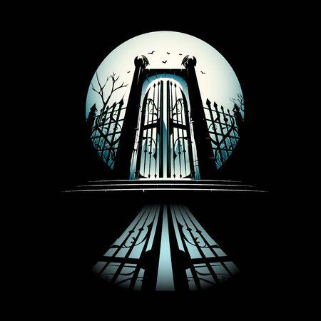 Illustration vectorielle de porte de lune. peut être utilisé comme affiche, logo, impression de t-shirt ou à toute autre fin.