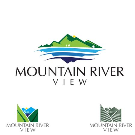 Mountain and river view logo set