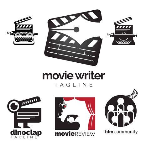 Movie theme log icon set. vector