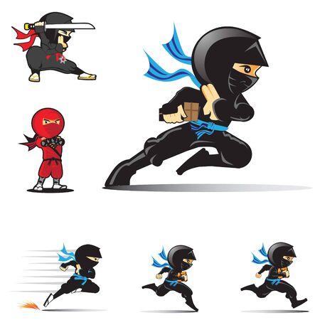 Ninja logo set vector illustrations Illustration
