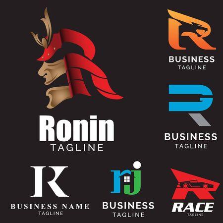R letter based theme logo set vector volume 2