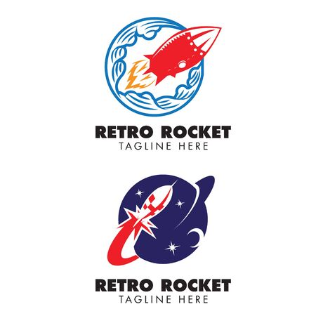 Retro Rocket theme logo set. vector Фото со стока - 130159016