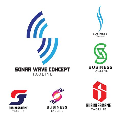 S-Brief-basiertes Logo-Set. Vektorvolumen 1
