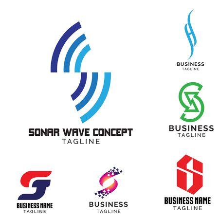Zestaw logo motywu na podstawie litery S. objętość wektora 1